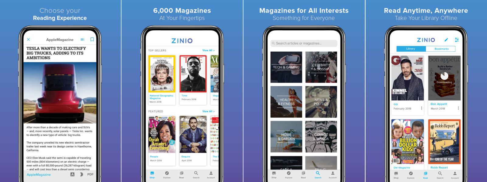 ZINIO App optimized for mobile devices